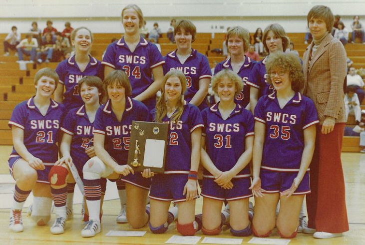 Kay Gould with SWCS basketball team, 1979.