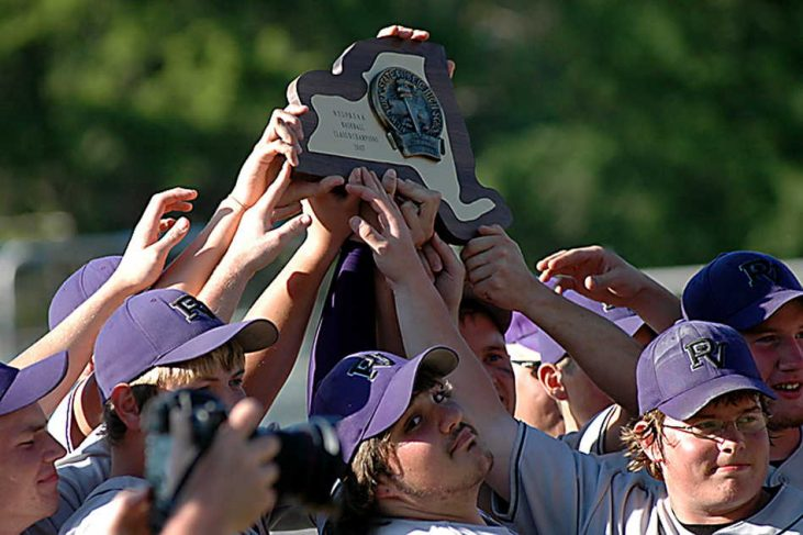 The 2007 Pine Valley baseball team celebrates.