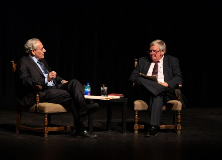 Gregory Peterson is pictured with Bob Woodward