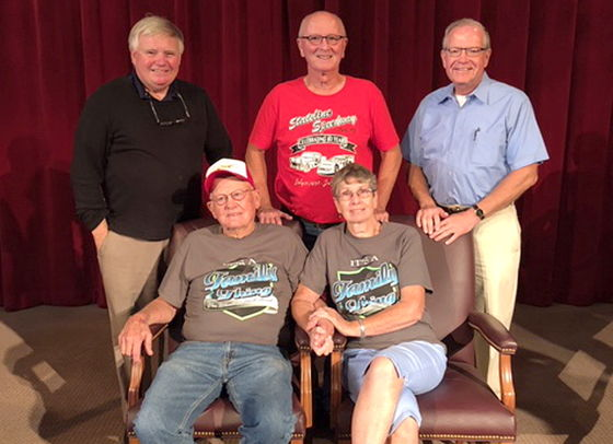 Jim Scott and his wife Jean. Standing, from the left, are Greg Peterson, Randy Anderson and Randy Sweeney.