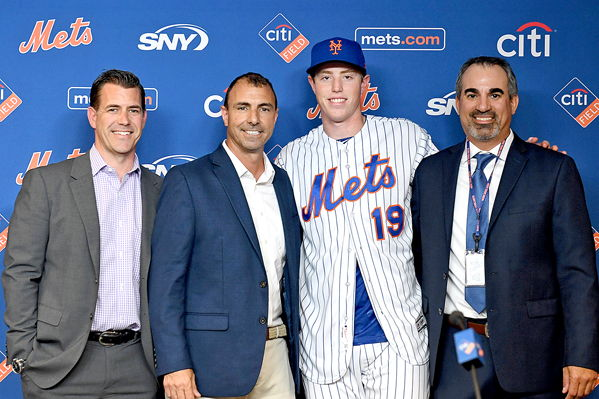 Marc Tramuta, far right, is pictured with, from left:Brodie Van Wagenen, Mets general manager; Tommy Tanous, Mets vice president of international and amateur scouting; and Brett Baty, 2019 Mets first-round pick.