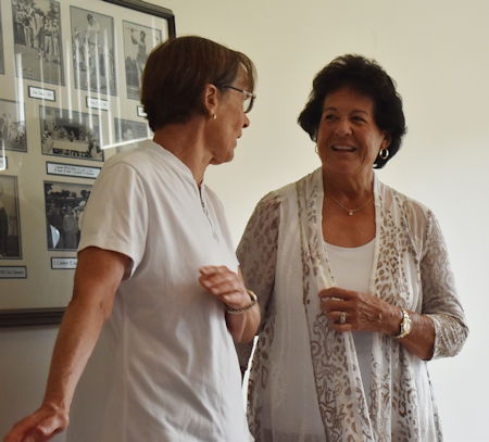 Tara VanDerveer, left, and Nancy Lopez at Chautauqua.