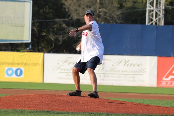 Ted Wyberanec Jr. delivers the ceremonial first pitch.